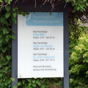 Praxisschild Psychotherapie Antje von Busch